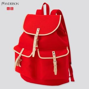 COPY - JW Anderson Uniqlo retro red unisex cotton & genuine leather backpack NWT